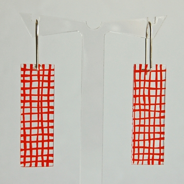 orange grid earrings