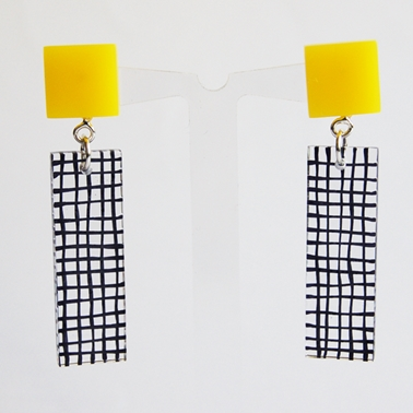 yellow top Grid Tower earrings