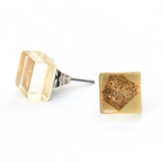 Tiny Square Block Studs Gold