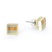 Tiny Square Block Studs Silver