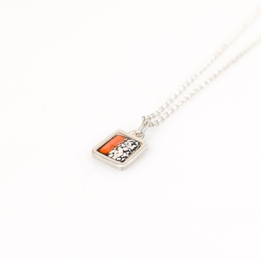 Half and half square framed necklace - Tangerine, Blue and Silver