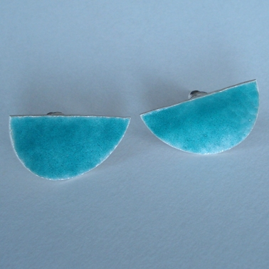 Half oval Sea Green earrings