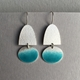 Textured  half oval hook earrings with Deep Turquoise oval