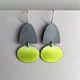 Half oval hook earring with Yellow green oval