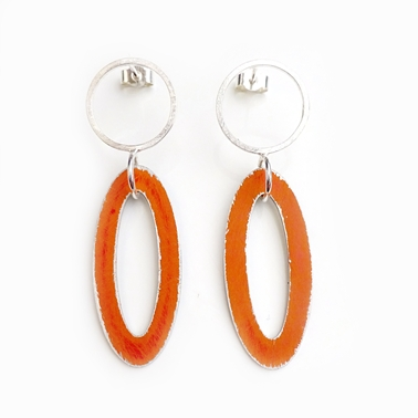Hanging Oval Earrings Orange