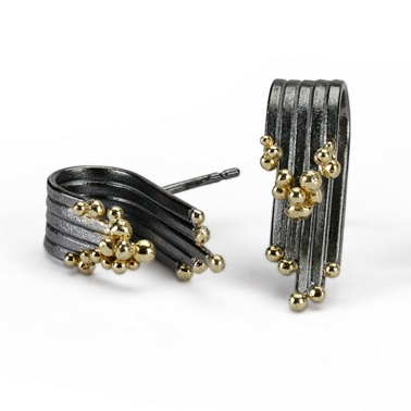 Tide Earrings, Oxidised Silver and 18ct Gold