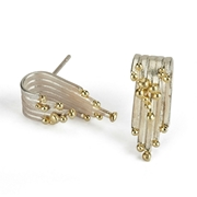 Tide Earrings, Silver and 18ct Gold