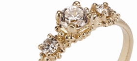 Hannah Bedford - Triple Cluster Diamond ring, 18ct yellow gold