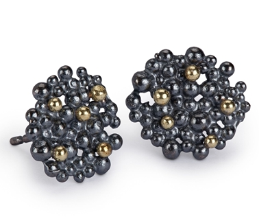 Berry Earrings - oxidised & 18ct gold