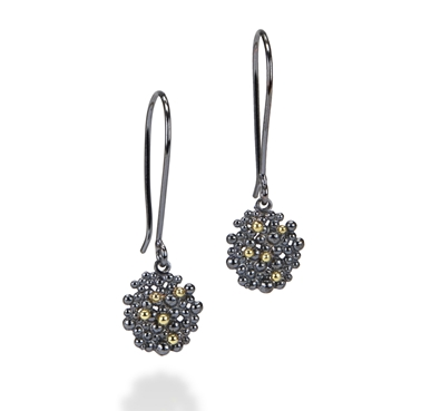 berry drop earrings oxidised silver gold