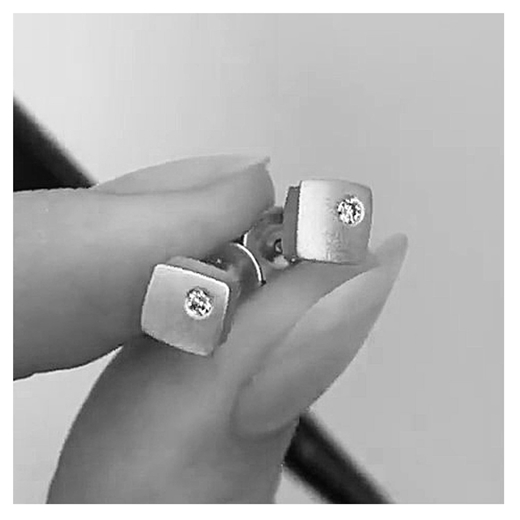 Square silver studs with diamond