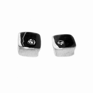 Polished square silver studs with diamond