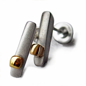 Silver ingot earrings with 18ct gold