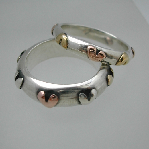 Group of two heart rings