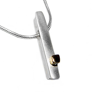 silver ingot with small 18ct gold detail