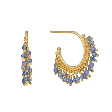 Blue Sapphire Beaded Hoop Earrings