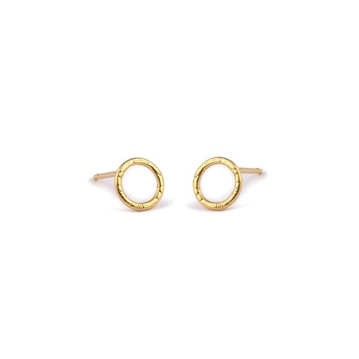 22ct Gold Plated, French Knit Imprinted Hoop Studs