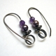 Hoops with hematite, pearl, amethyst
