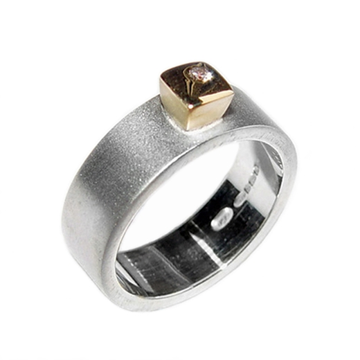 Silver Band with Diamond & 18ct Gold Detail