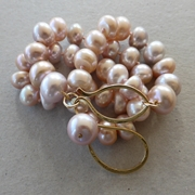 Pink, peach, grey Chinese freshwater pearls with 9ct clasp