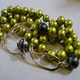 Lime green pearl necklace and bracelet with 9ct gold