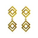 Double Geom Drop Earrings Gold