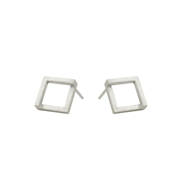 Geom Stud Earrings Silver