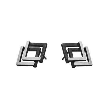 Double Geom Earrings Oxidised
