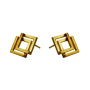 Double Geom Earrings Gold