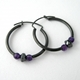 Medium hoops,amethyst, hematite
