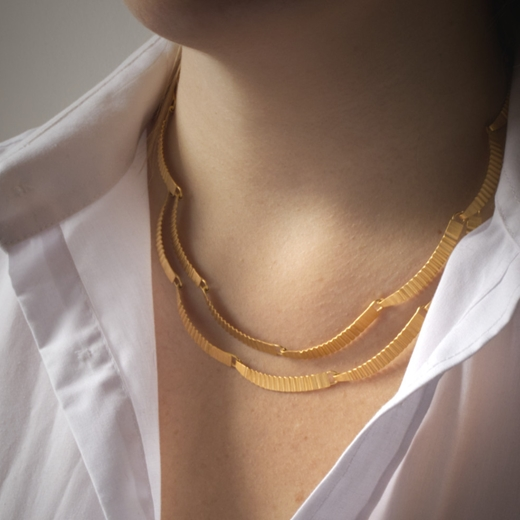 Kyoto necklace - gold-plated silver - 2  layer- model image with white shirt- by Clara Breen