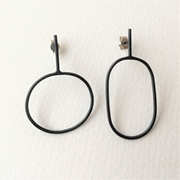 Oxidised irregular oval earrings