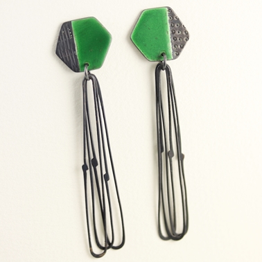 Basalt earrings with Loops Green