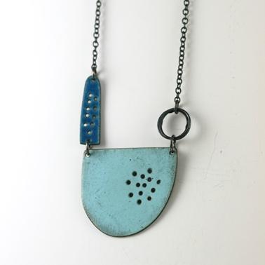 Tidal series neckpiece in matt turquoise Contemporary Necklaces