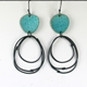 Flotsam earrings, loops, deep turquoise