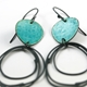 Flotsam earrings, loops, deep turquoise detail