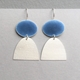 Blue grey oval hook earring + silver half oval
