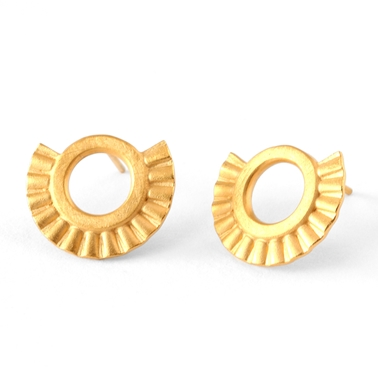 Small sunray earrings, gold plated silver