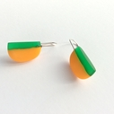 orange green drop D earrings