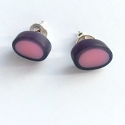 pink blue tiny oval studs