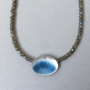 Part Blue grey oval necklace