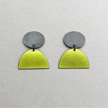 Oxidised oval stud with part yellow green half oval