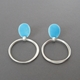 Turquoise oval with coil drop earrings