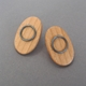 Oval wooden stud earrings
