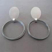 oval and oxdised coil drop earrings