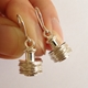 Dangling Earrings with Hammered Discs on Rod