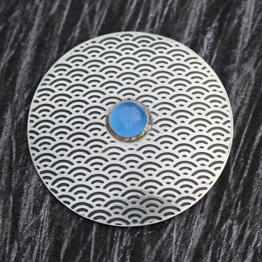 Brooch No.5, blue chalcedony, 2