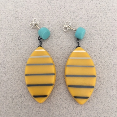 Mustard stripe leaf drop earrings