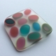Brooch square pink /green ovals polyester resin