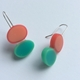 Earrings 2 ovals green/red polyester resin
